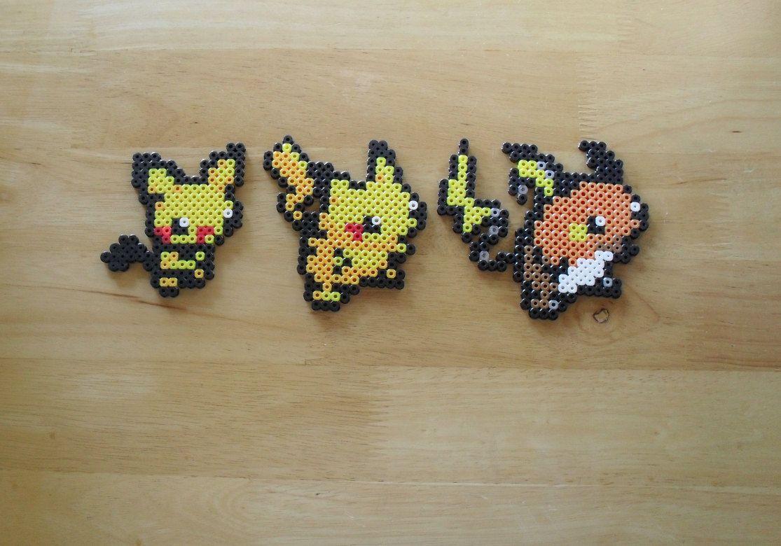 172 Pichu / 025 Pikachu / 026 Raichu | Perler Beads | Pichu