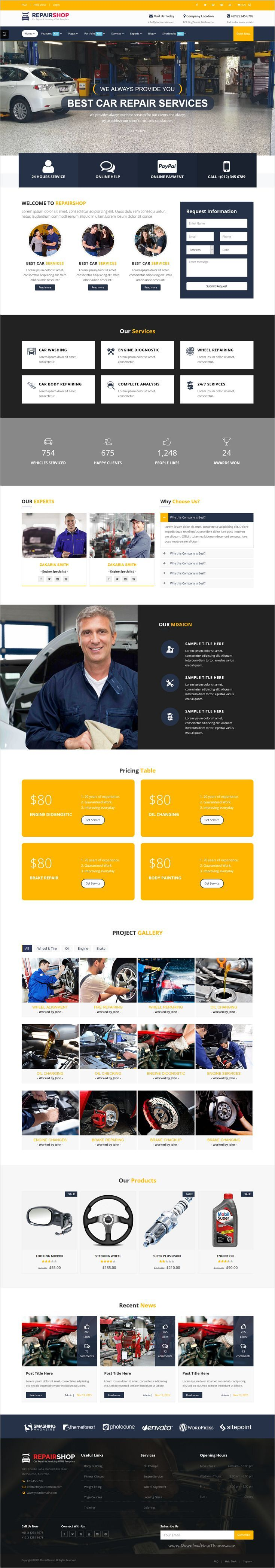 Repairshop is a wonderful responsive html bootstrap template for car repair garage