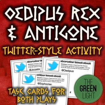 oedipus rex and antigone twitter style activity bell ringers task cards bell ringers. Black Bedroom Furniture Sets. Home Design Ideas