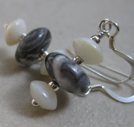 Black and white tree agate and mother of pearl stone earrings handmade by Bethany Rose Designs. Handcrafted jewelry at www.BethanyRoseDesigns.etsy.com