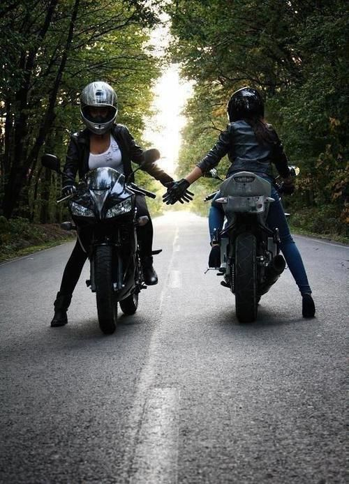 Ride As A Team Even Though You Just Meet At The Red Light Riding Is Life Biker Girl Riding Motorcycle Bikes Girls