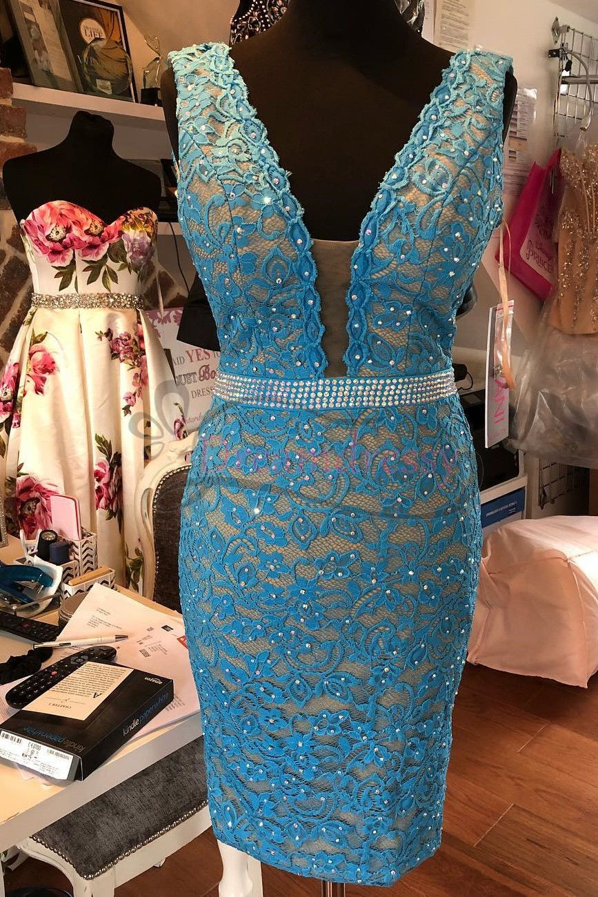 Sexy tight blue lace short party dress prom dresses pinterest