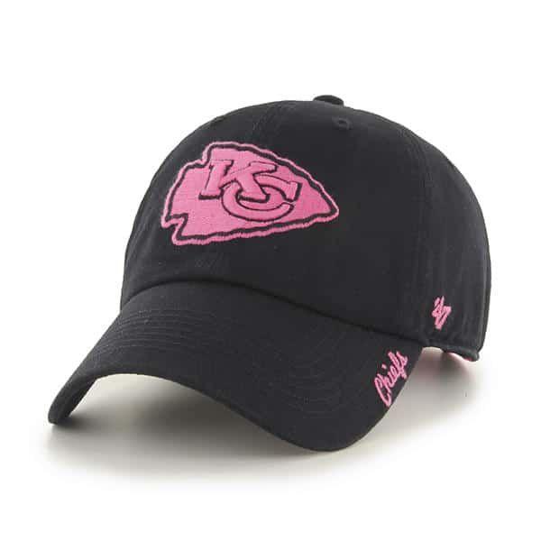 79be369a9973c Kansas City Chiefs Women s Skyler Clean Up Pink Black 47 Brand Hat
