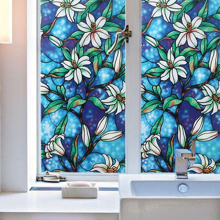 45cmx200cm Modern Flower Pattern Glass Stickers Bathroom Balcony