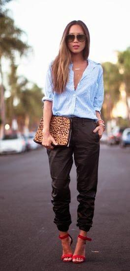 Cómo Combinar Un Pantalón Slouchy Este Verano Fashion Leather Jogging Pants Jogger Pants Outfit