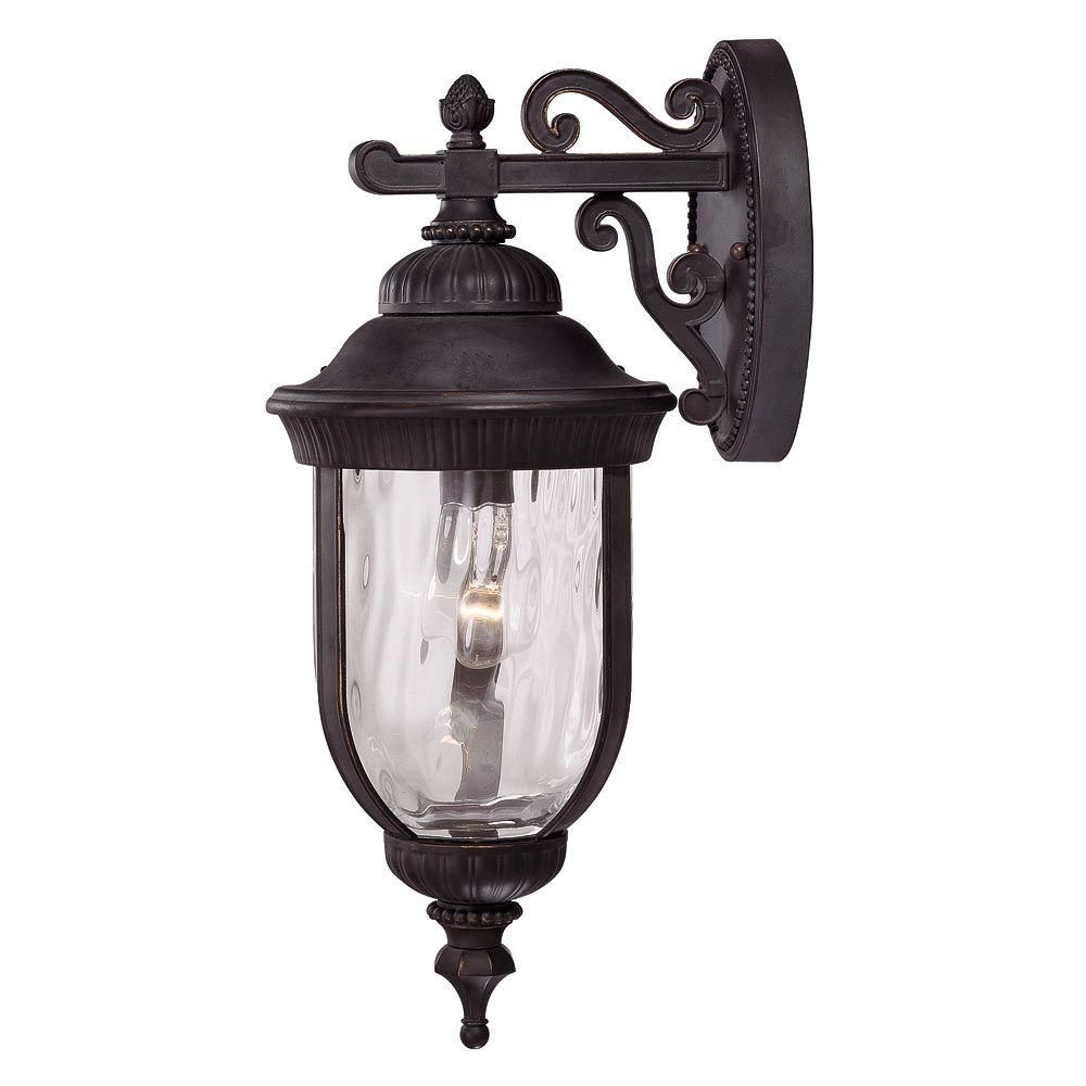 Illumine 1 Light Wall Mount Lantern Black W Gold Finish Clear Hammered Glass Cli Sh202852454 The Home Depot Wall Mount Lantern Outdoor Wall Lantern Outdoor Wall Sconce