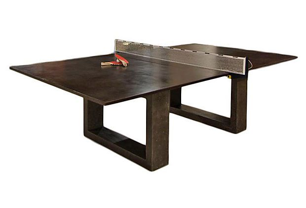 Ping Pong Dining Table Dark Gray On Onekingslane Com By James Dewulf Concerete And Powder Coated Steel Dining Table Glass Dining Room Table Ping Pong Table