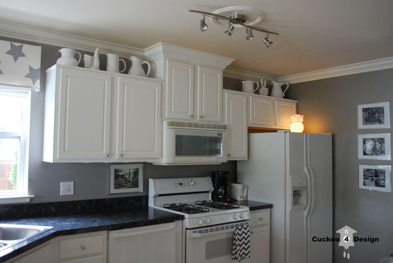 gray white kichens | white and grey kitchen with white ceramic jugs