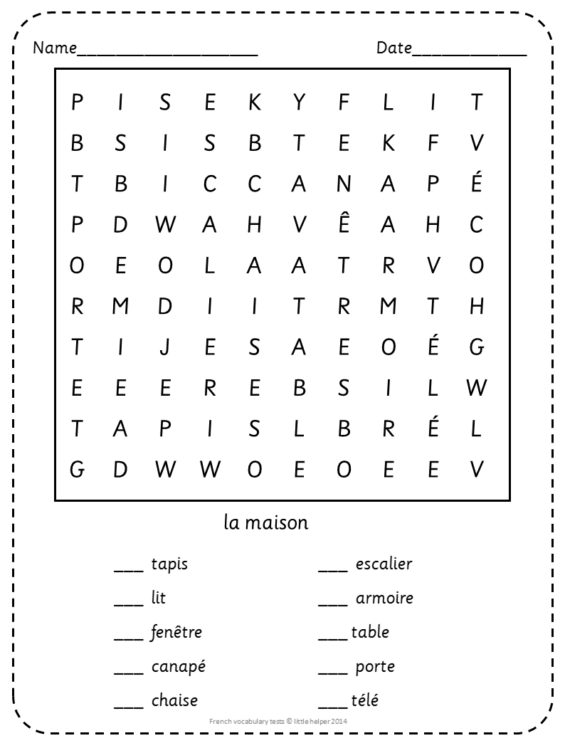 Worksheets French Worksheets For Beginners french beginner vocabulary tests and word search puzzles puzzles