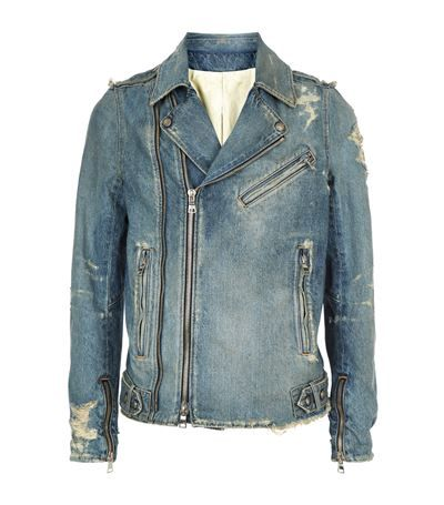 Biker balmain Distressed Balmain Denim Jacket Coats cloth xIER0R