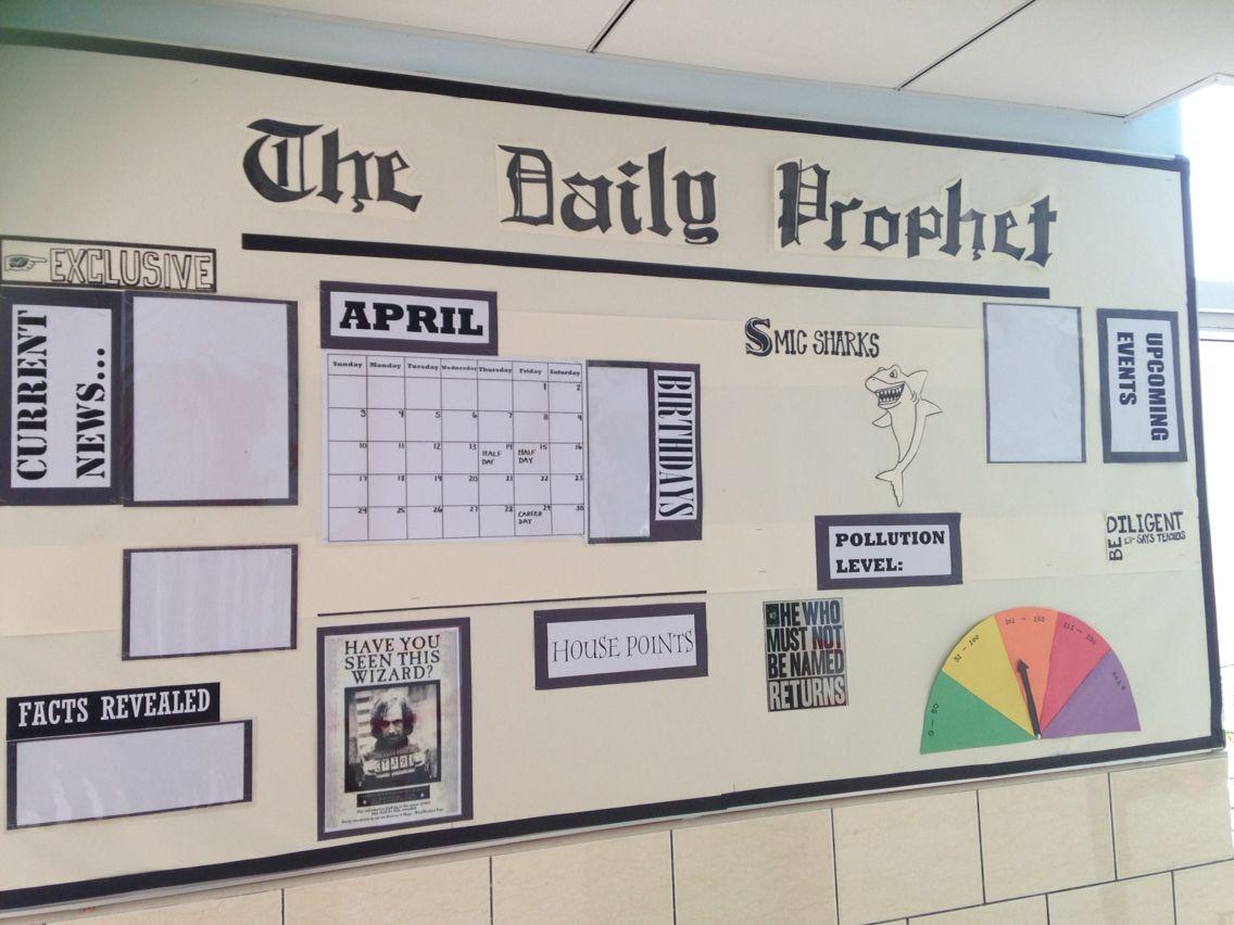 Classroom Newspaper Ideas ~ Our third grade news bulletin board harry potter themed