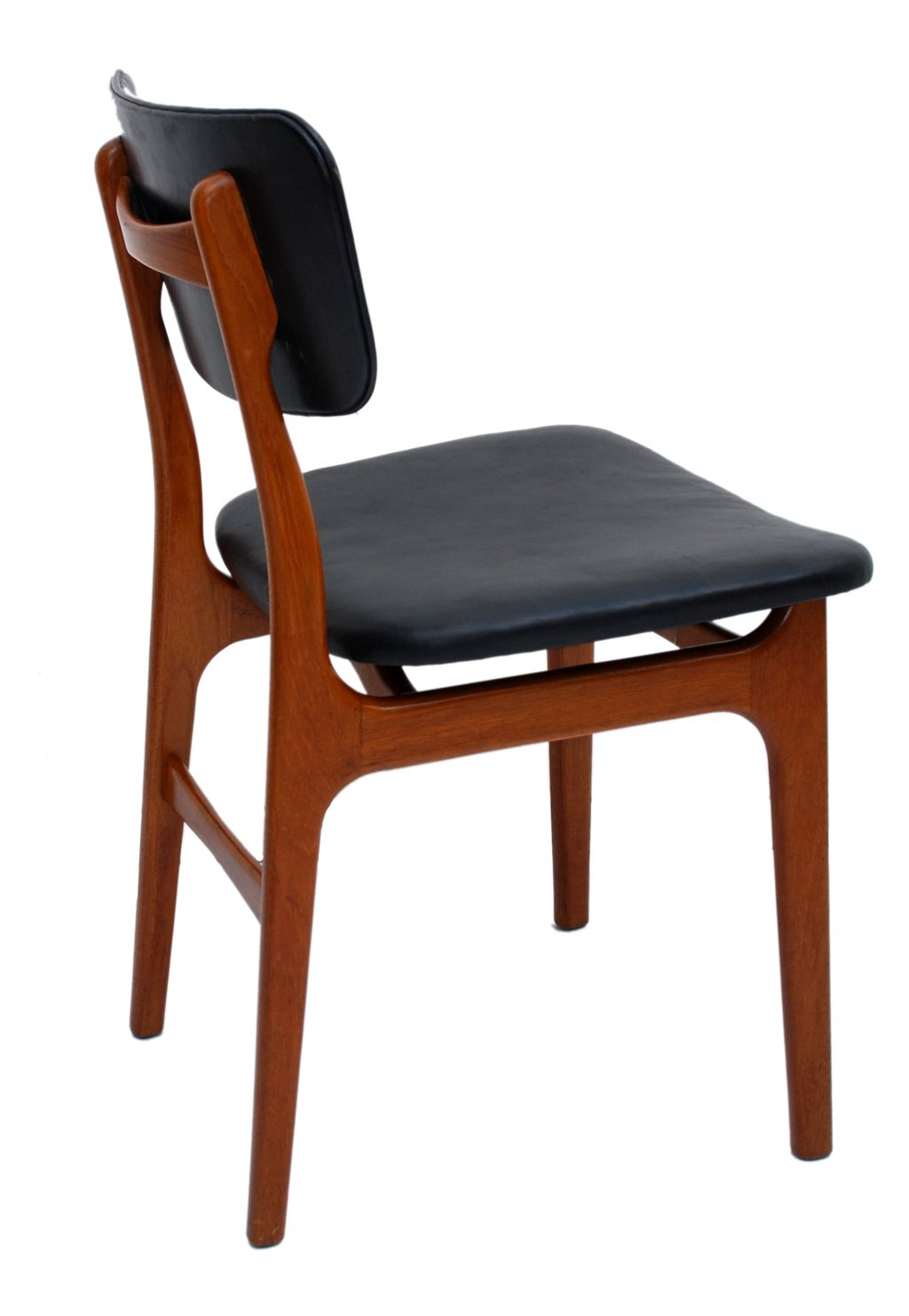 Danish Modern Teak And Black Leather Dining Chair Set Of Six