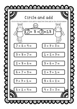 Adding Three Numbers Add 3 Numbers Worksheets Printables Make Ten First Teaching Math Math School 1st Grade Math