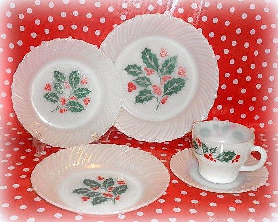 vintage termocrisa christmas holly milk glass 15 piece dinnerware set by fire king vintage christmas dishes on sale