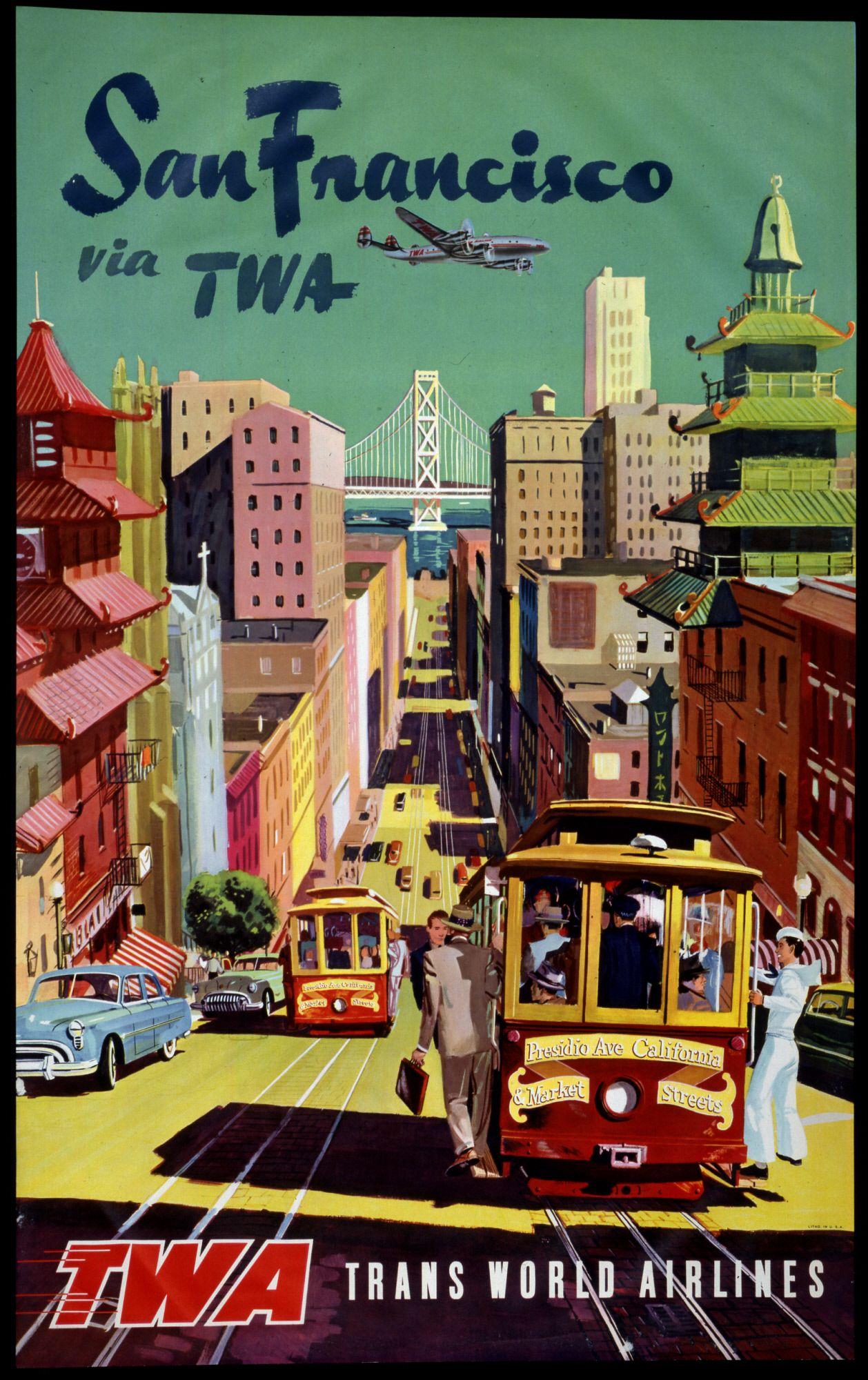 1960/'s San Francisco China Town Vintage Travel Poster 18x24