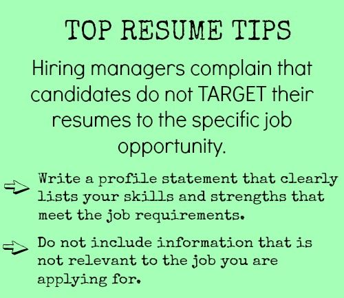 Target your resume to the job Job Search, Job Interviews - entry level jobs resume