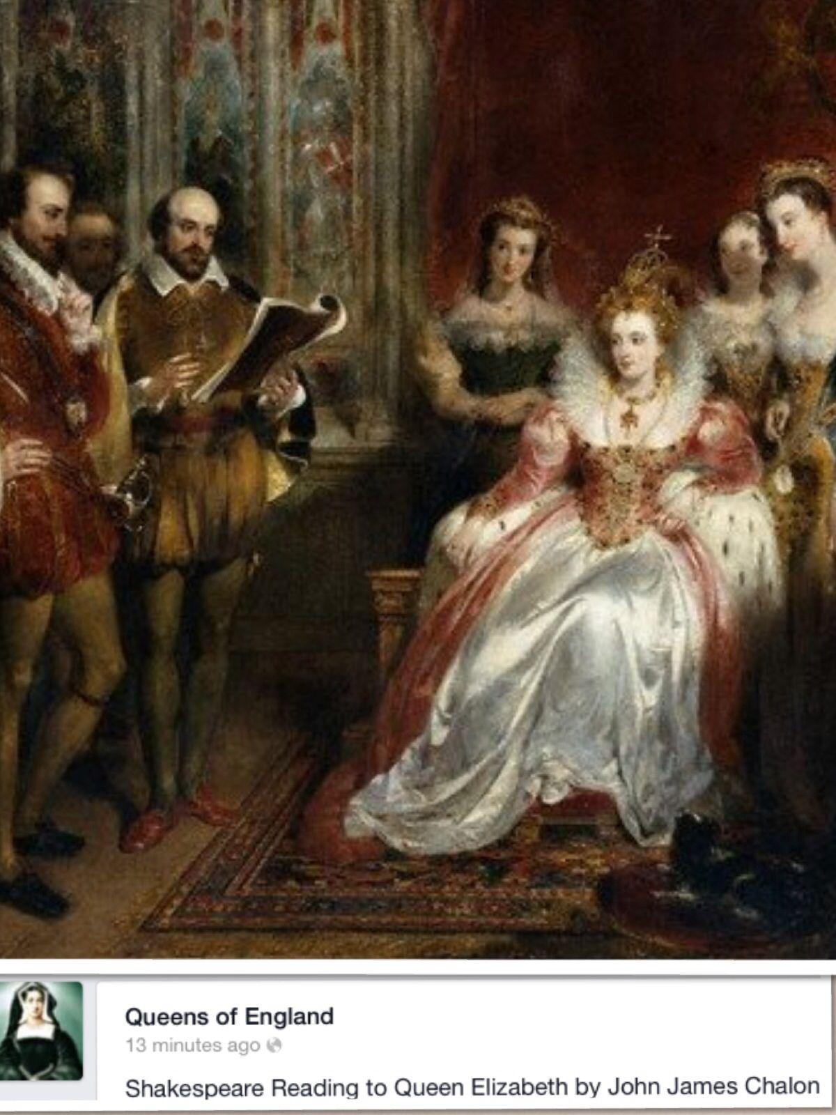 Queen Elizabeth L And William Shakespeare