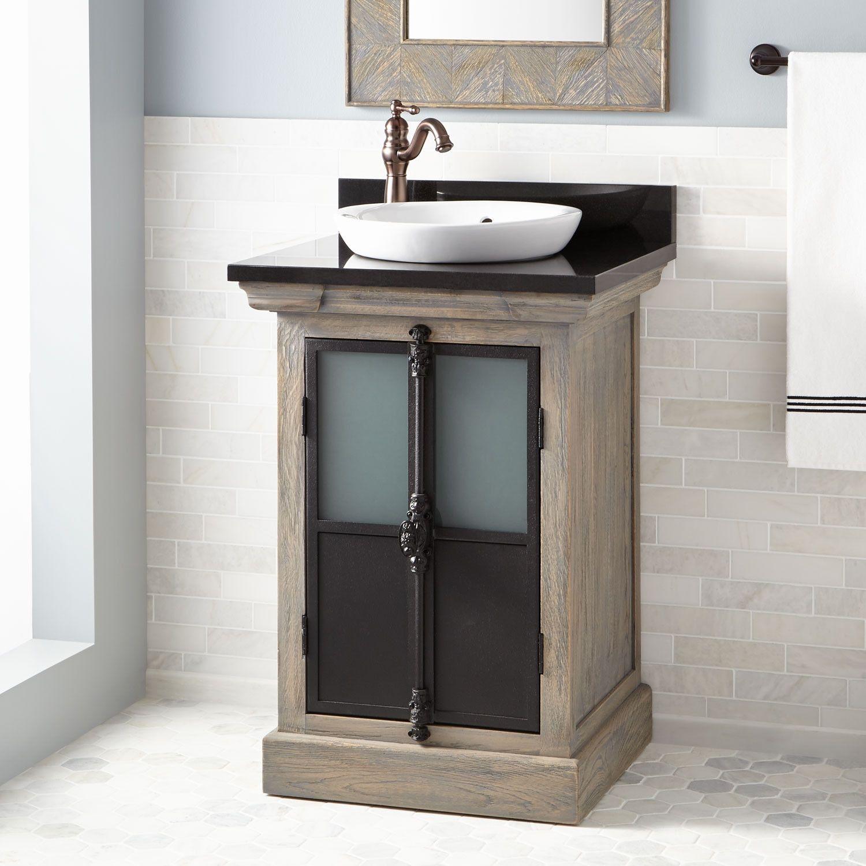 24 Garton Oak Vanity For Semi Recessed Sink Gray Wash Oak Bathroom Vanities Bathroom Bathroom Vanity Rustic Bathroom Vanities Vessel Sink Vanity
