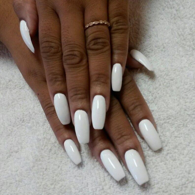All White White Acrylic Nails Nails White Nails