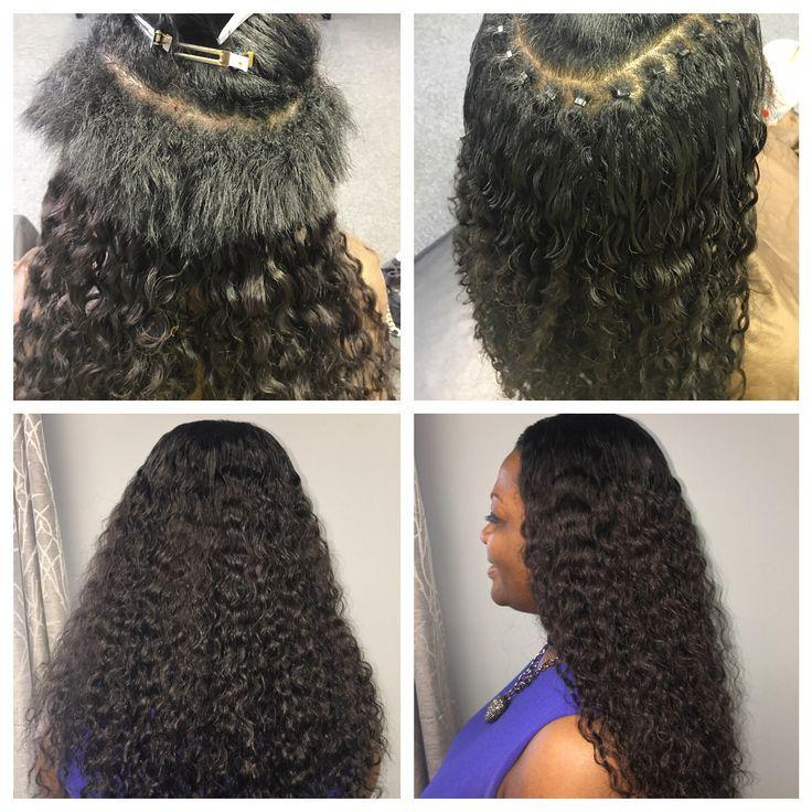 Braidless microlink install using 2 bundles of hair