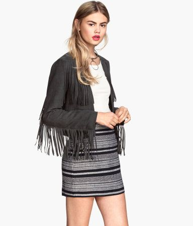 Black White Striped Mini Skirt And Dark Gray Fringed Jacket HM Divided