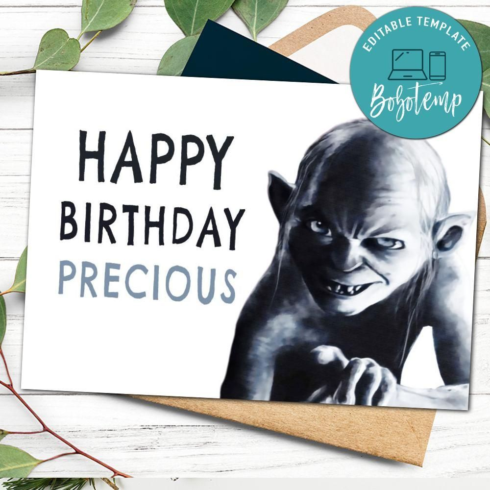 Customizable Lord Of The Rings Golem Birthday Card Template To Print At Home Instant Download Lord Of The Birthday Card Template Birthday Cards Card Template