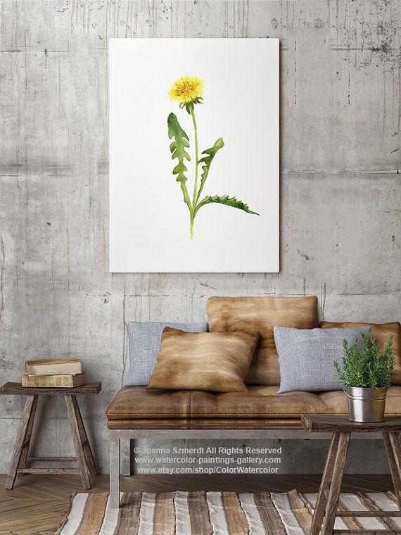 Gemeinsamen Löwenzahn Kunstdruck florale Illustration Gelbe Blume - gelbe dekowand blume fr wohnzimmer