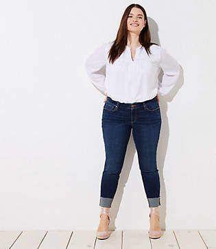e3b1677825cf1 LOFT Plus Floral Embroidered Cuff Skinny Crop Jeans in Dark Classic Indigo  Wash