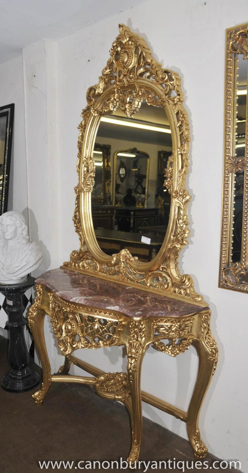 Photo of french louis xv gilt console table mirror set for French rococo style