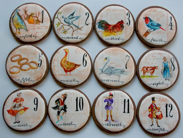 The Twelve Days of Christmas decorated iced painted cookies by Arty McGoo