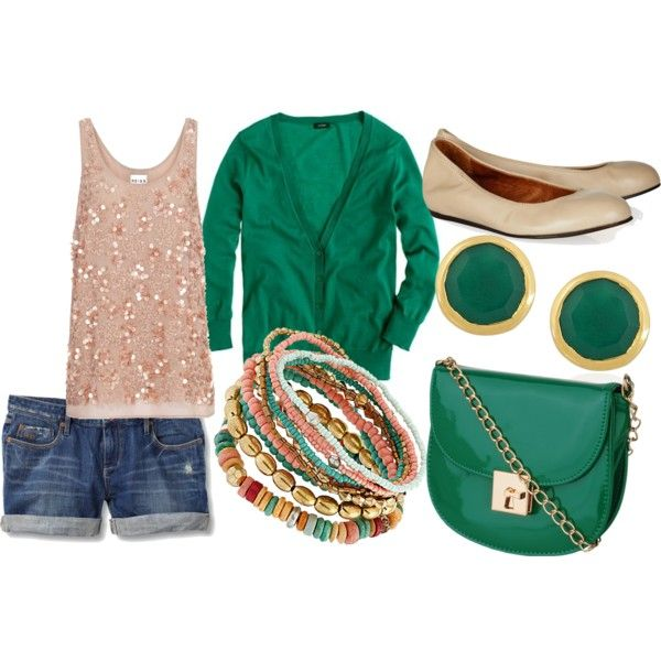 """Summer Day Out"" by baller9139 on Polyvore green and nude"