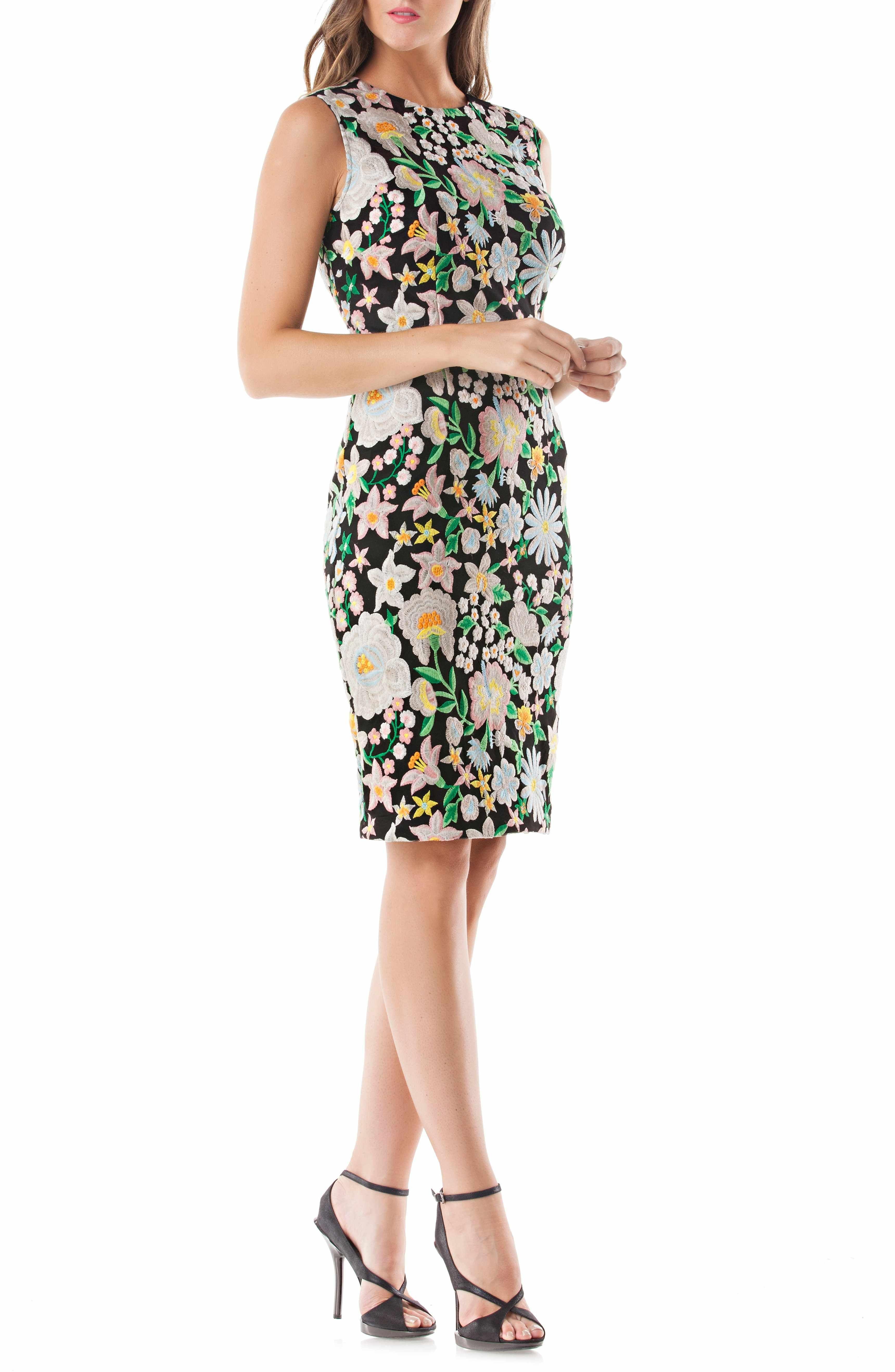 46edc2ea Main Image - Carmen Marc Valvo Infusion Floral Embroidered Sheath Dress