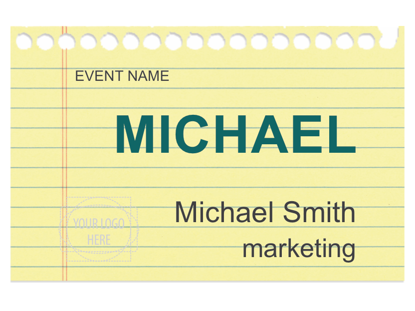 This name tag design with a notebook background will be great for this name tag design with a notebook background will be great for parents night at school or an event where note taking is paramount maxwellsz
