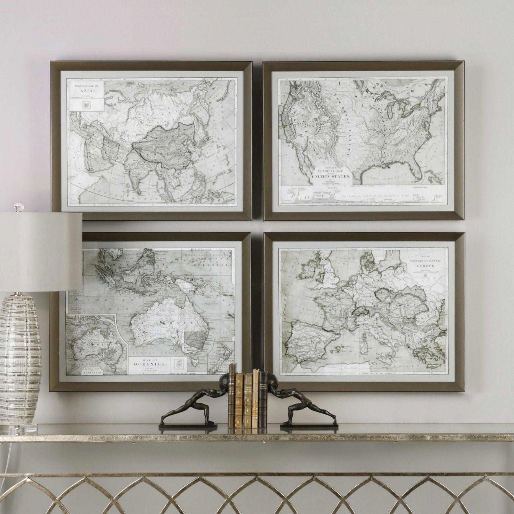 Uttermost World Maps Wall Art  Set Of 4
