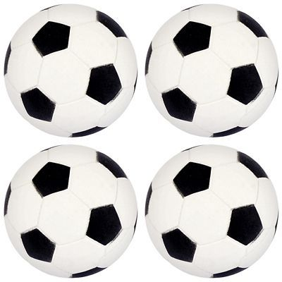 Fans of the world's most popular sport will love playing with Soccer Bounce Balls at your soccer-themed birthday party or team get-together. These rubber soccer balls are great to use as party favors or prizes during birthdays or soccer team parties. Send your guests home with the Soccer Bounce Balls as a fun party souvenir.  Soccer Bounce Balls product details: 4 per package 1 3-4in diameter