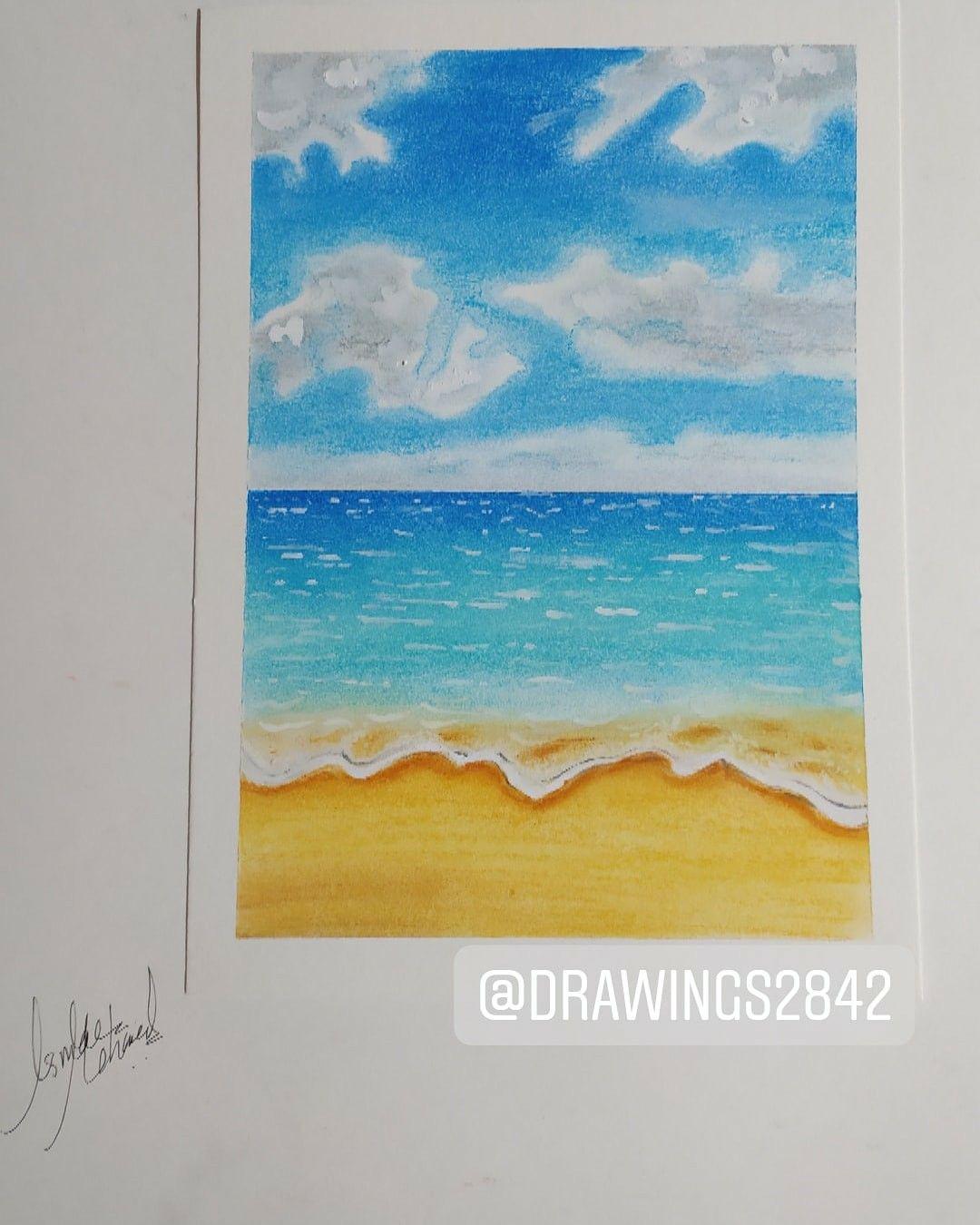 A Landscape Of The Sea Using Soft Pastel Colors منظر طبيعي للبحر مرسوم بالوان السوفت باستيل Painting Soft Pastel Pastel Colors