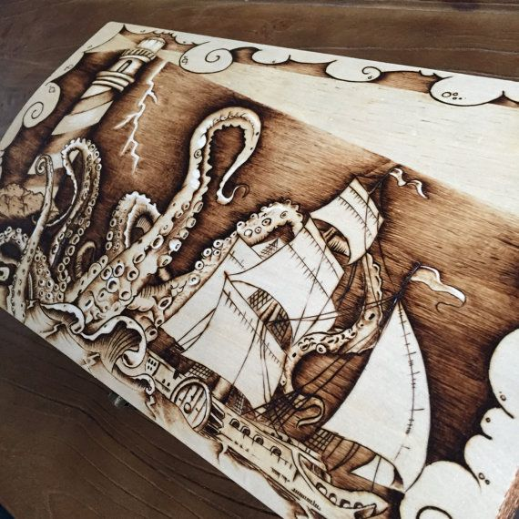 OOAK Wood Burned ArtOctopus Gift Box Designed And By TimberleeEUC