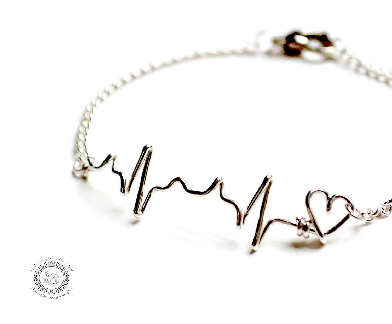 EKG Heartbeat Bracelet, Sterling Silver, Nurse, EMT, Paramedic by heartfeltwiredesigns on Etsy https://www.etsy.com/listing/177906997/ekg-heartbeat-bracelet-sterling-silver