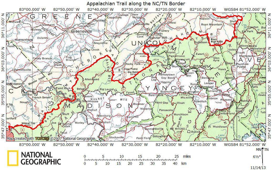 Appalachian Trail Along Nc Tn Border App Trail Nc Hiking