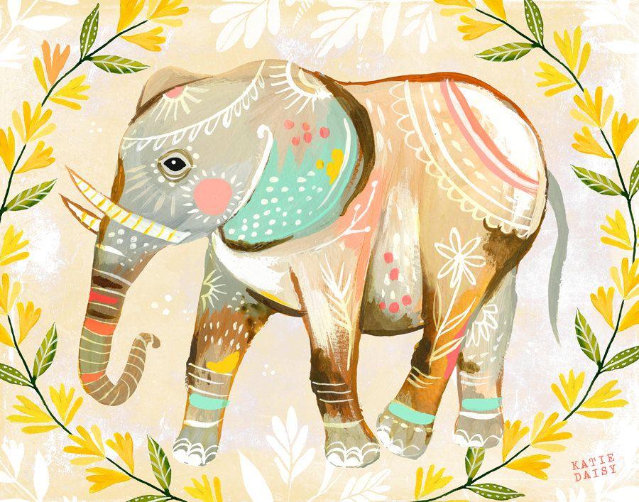 Elephant Print   Nursery Decor   Colorful Wall Art   Katie Daisy ...