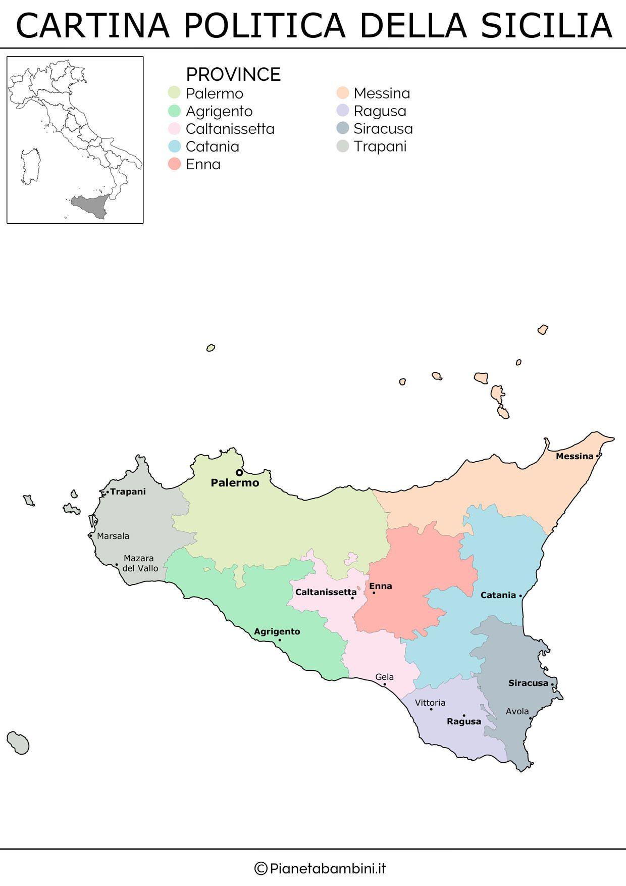 Cartina Politica Della Sicilia.Cartina Muta Fisica E Politica Della Sicilia Da Stampare