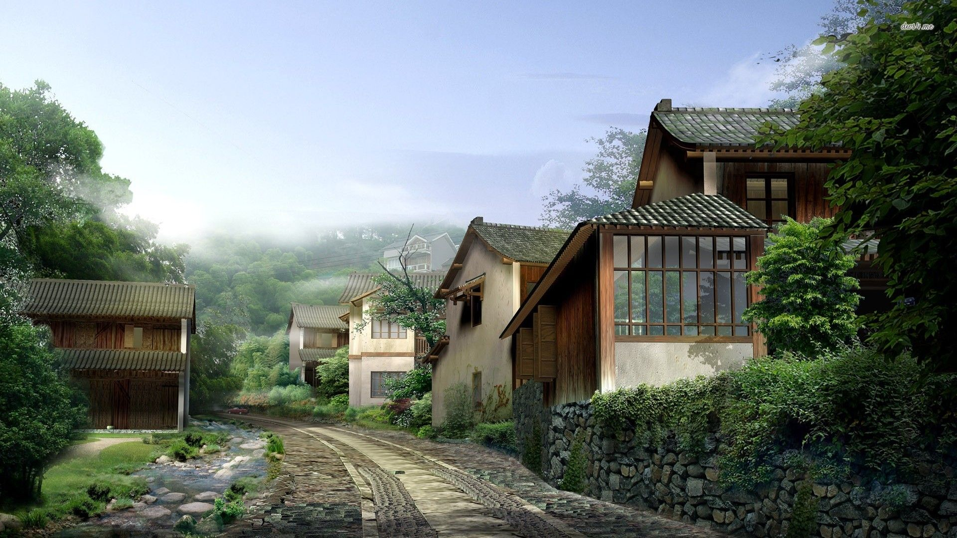 Rain In Chinese Village Wallpaper Countryside Wallpaper House Country Cottage