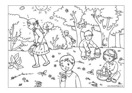 Easter Egg Hunt Colouring Page 2 Easter Coloring Pages Easter