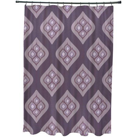 Simply Daisy 71 inch x 74 inch Tail Feathers Geometric Print Shower Curtain, Purple