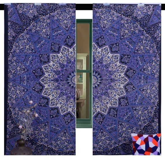 Purple Mandala Door Curtain Set Bohemian Window Hanging Dorm Room Window Treatment Indian Tapestry D