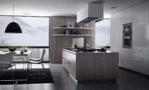cocina-moderna-paredes-grises | IDEAS PARA MI COCINA | Pinterest ...