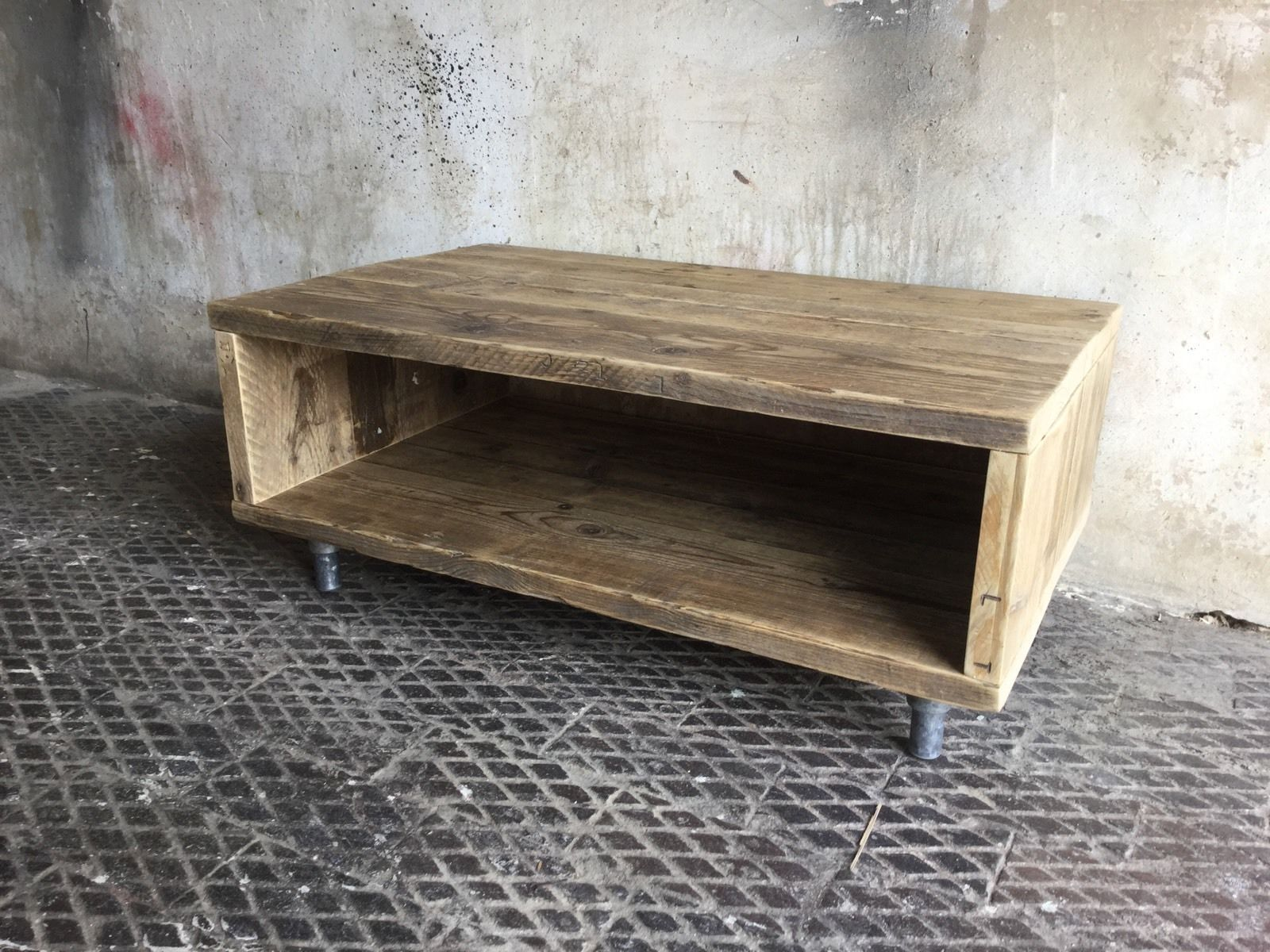 Reclaimed Wood Coffee Table TV Stand Unit Industrial Scaffold Board ...