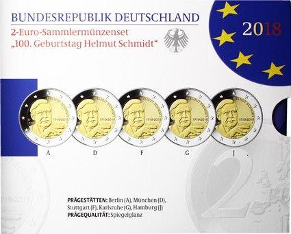 Deutschland 5 x 2 Euro 2018 PP Helmut Schmidt Mzz A J