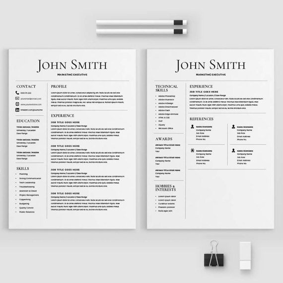 Resume Template CV Template with Cover Letter MS Word on