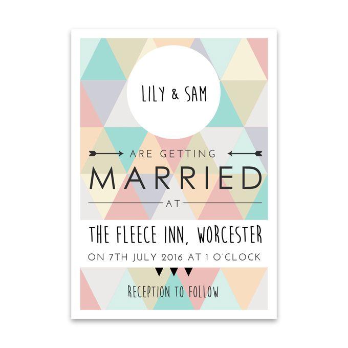 Brides Multicolor Geometric Printed Invitation Wedding Flat
